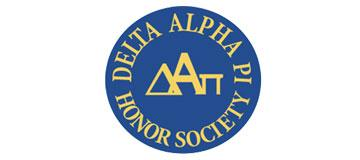Blue and Yellow Delta Alpha Phi Honors Society Logo