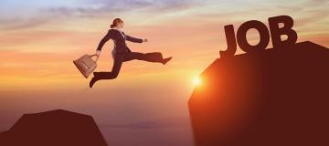 """Person with briefcase jumping to other side of cliff called """"Job"""""""