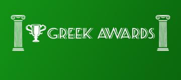 Trophy Logo and Text saying greek awards