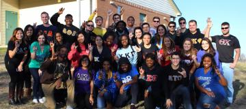 Greek Life students standing in a group