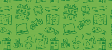 Green background with various imagery of hobbies