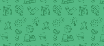 Green background with imagery of different academic items