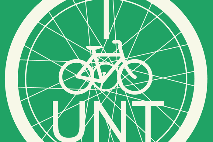 I Bike UNT Logo with image of bike in a bike wheel