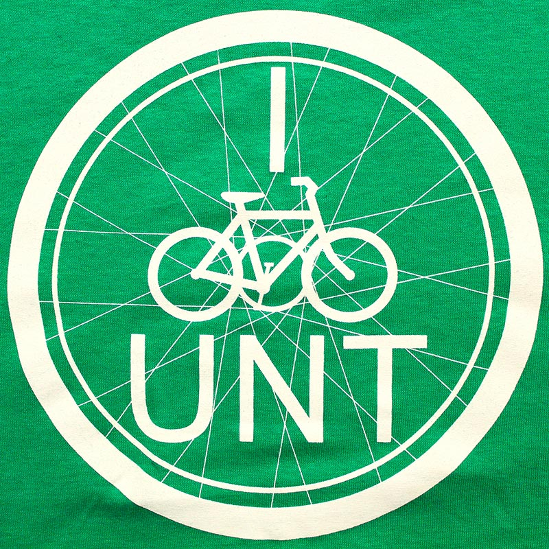 green and white I Bike UNT logo with small bike inside bike wheel