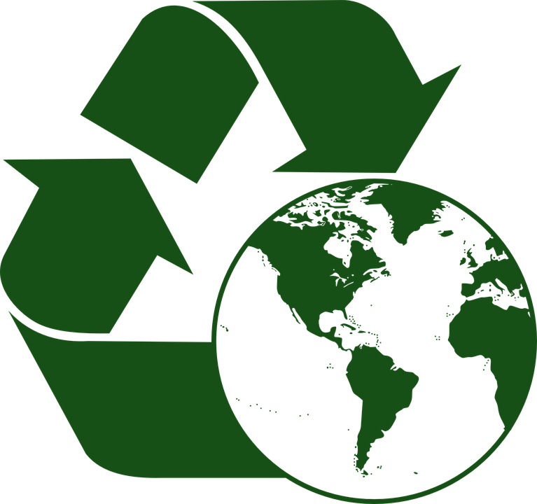 green recycle arrows with an image of Earth