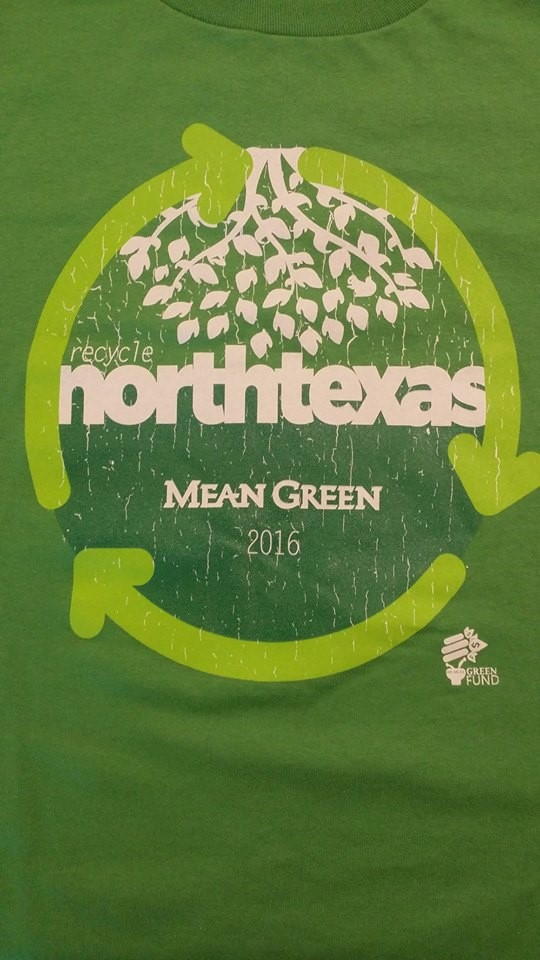 green recycle north texas 2016 shirt with recycle arrows and leaves