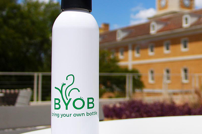 water bottle that says Bring Your Own Bottle (BYOB)